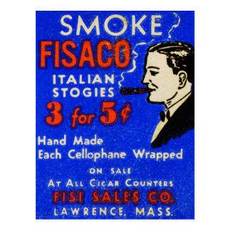 Vintage Retro Kitsch 30s Match Art Fiasco Cigars Postcard