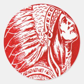 Vintage Retro Kitsch 40s Travel Indian Chief Head Round Sticker
