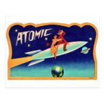 Vintage Retro Kitsch 50s Atomic Rocket to The Star Postcard