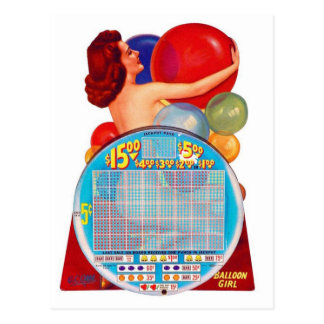 Vintage Retro Kitsch 50s Punchboard Gambling Game Post Cards