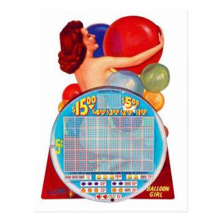 Vintage Retro Kitsch 50s Punchboard Gambling Game Postcard
