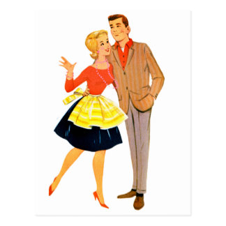 Vintage Retro Kitsch 60s Marriage Newlywed Couple Postcard
