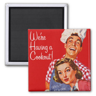 Vintage Retro Kitsch BBQ Barbecue Having a Cookout Square Magnet