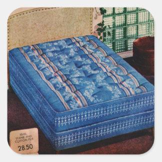 Vintage Retro Kitsch Bed 50s Mattress Catalog Art Square Sticker
