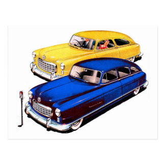 Vintage Retro Kitsch Car Nash Ambassador Art Postcard