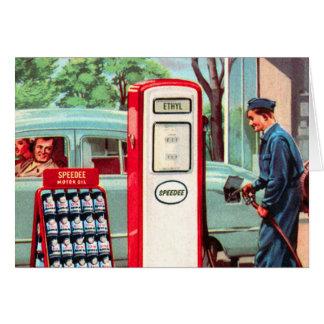 Vintage Retro Kitsch Gasoline Station Filler Up Greeting Card