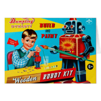 Vintage Retro Kitsch Kids Toy Wooden Robot Kit Card