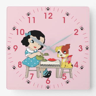 Vintage Retro Kitsch Little Girl and Dog Square Wall Clock