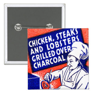 Vintage Retro Kitsch Matchbook Chef Lobsters Steak 2 Inch Square Button
