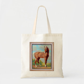 Vintage Retro Kitsch Paint By Numbers Horse Budget Tote Bag