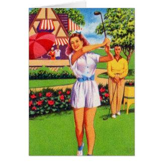 Vintage Retro Kitsch Pin Up Golfing Women Golfer Card