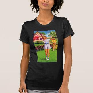 Vintage Retro Kitsch Pin Up Golfing Women Golfer T-Shirt