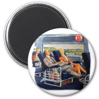 Vintage Retro Kitsch Train Luxury Coach Travelers 2 Inch Round Magnet