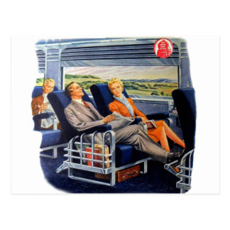 Vintage Retro Kitsch Train Luxury Coach Travelers Postcard