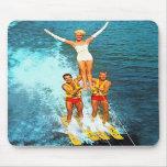 Vintage Retro Kitsch Women Dells Water Skiers Mousepad