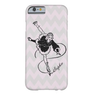 Vintage Retro Lady Ice Figure Skating Personalized Barely There iPhone 6 Case