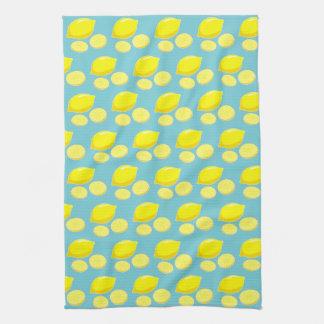 Vintage Retro Lemons Slices Pattern Yellow on Blue Kitchen Towel