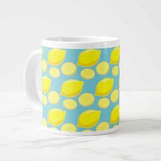 Vintage Retro Lemons Slices Pattern Yellow on Blue Large Coffee Mug