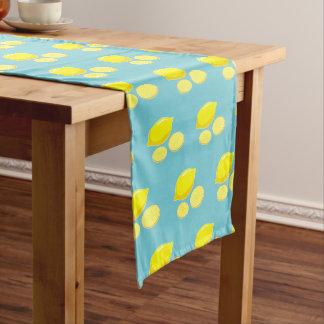 Vintage Retro Lemons Slices Pattern Yellow on Blue Long Table Runner