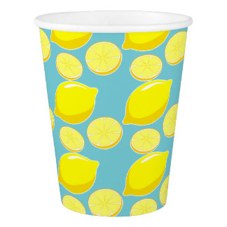 Vintage Retro Lemons Slices Pattern Yellow on Blue Paper Cup
