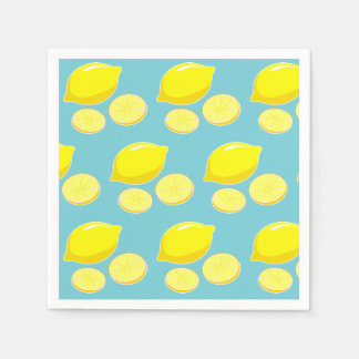 Vintage Retro Lemons Slices Pattern Yellow on Blue Paper Napkins