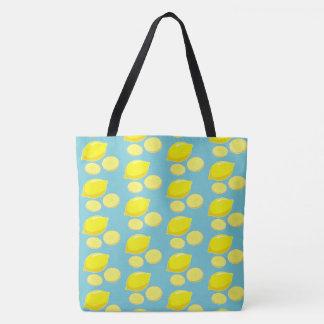 Vintage Retro Lemons Slices Pattern Yellow on Blue Tote Bag