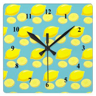 Vintage Retro Lemons Slices Pattern Yellow on Blue Wall Clock