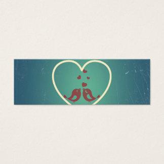 Vintage Retro Love Birds Hearts Teal BlueTurquoise Mini Business Card
