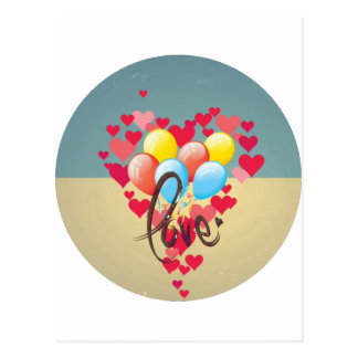Vintage Retro Love Hearts Funny Valentine Balloons Postcard