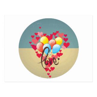Vintage Retro Love Hearts Funny Valentine Balloons Postcard