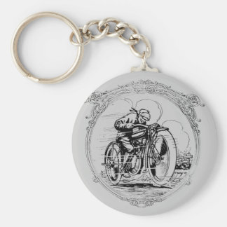 Vintage Retro Motorcycle Man Keychain