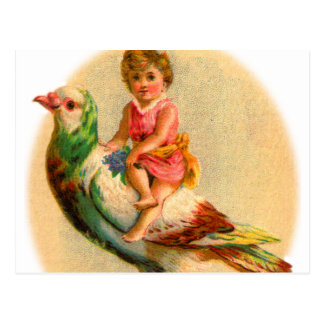 Vintage Retro Odd Kitsch Little Girl Riding a Bird Postcard