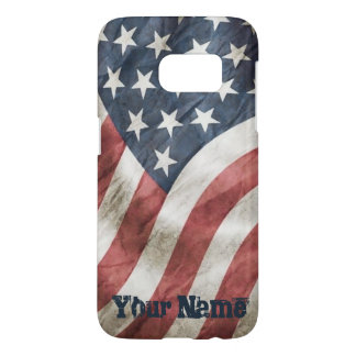 Vintage Retro Old Glory US Flag with Your Name Samsung Galaxy S7 Case