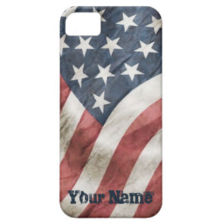 Vintage Retro Old Glory US Flag Your Name Case For The iPhone 5