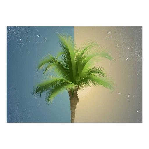 Vintage Retro Palm Tree Turquoise Blue Cream Sepia Business Cards