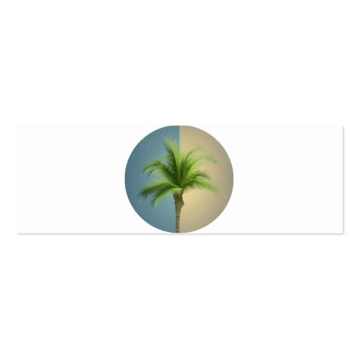 Vintage Retro Palm Tree Turquoise Blue Cream Sepia Business Card Template