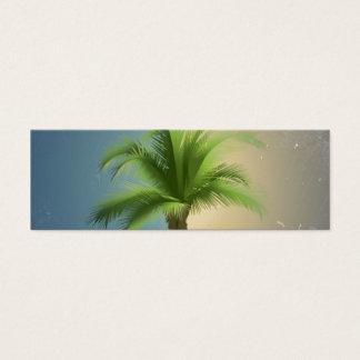 Vintage Retro Palm Tree Turquoise Blue Cream Sepia Mini Business Card
