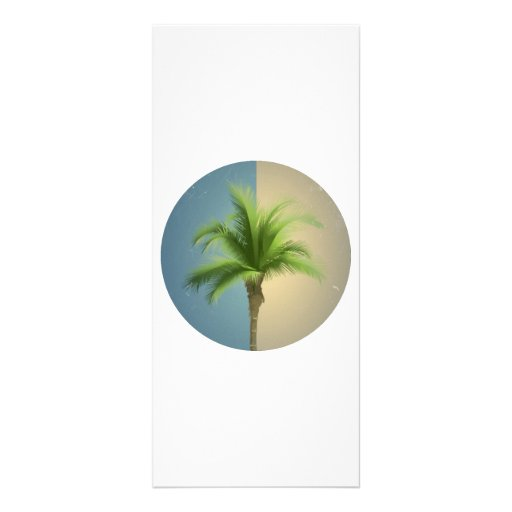 Vintage Retro Palm Tree Turquoise Blue Cream Sepia Full Color Rack Card