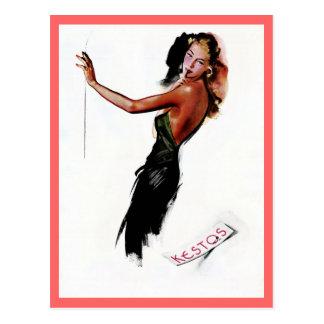Vintage retro Paris nightgown fashion drawing ad Postcard