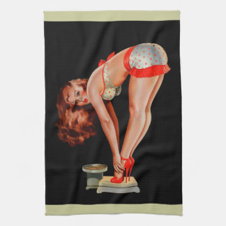 Vintage Retro Peter Driben Pinup Girl on Scale Hand Towels