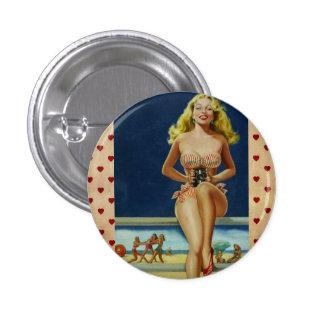Vintage Retro Peter Driben Summer Beach pinup girl 1 Inch Round Button