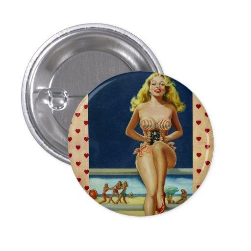Vintage Retro Peter Driben Summer Beach pinup girl Pin