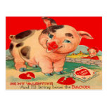 Vintage Retro Pig Bacon Valentine Card Post Cards