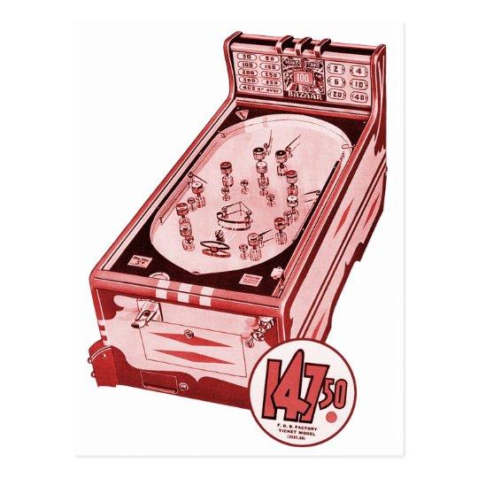 Vintage Retro Pinball Machine Postcard