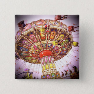 Vintage retro pink sky carnival swing ride photo 2 inch square button