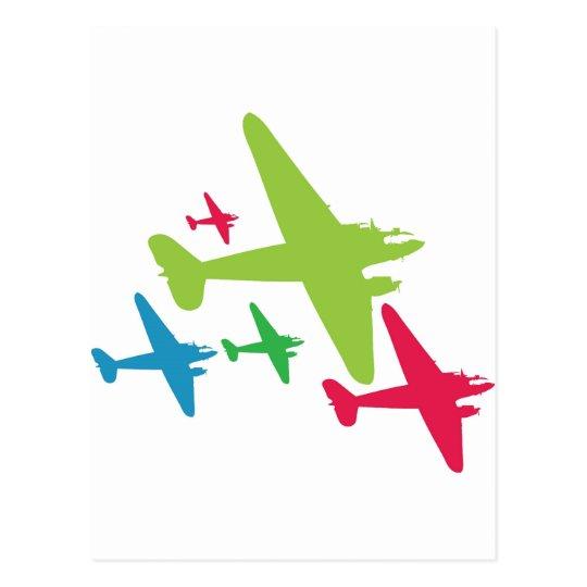 Vintage Retro Planes In Formation Postcard