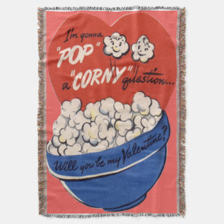 Vintage Retro Popcorn Valentine Postcard Throw Blanket