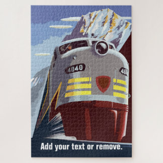 Vintage retro poster, train in mountain landscape: jigsaw puzzle
