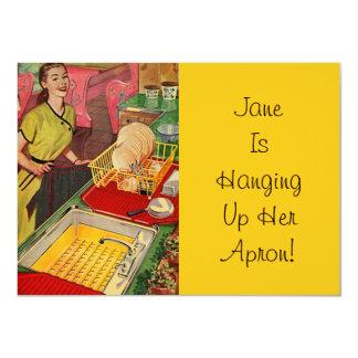 Vintage Retro Retirement Invitations hanging apron