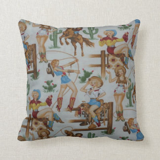 Vintage Retro Rodeo Cowgirls MoJo Throw Pillow